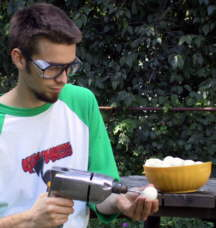 Wear eye protection when drilling holes through onions.