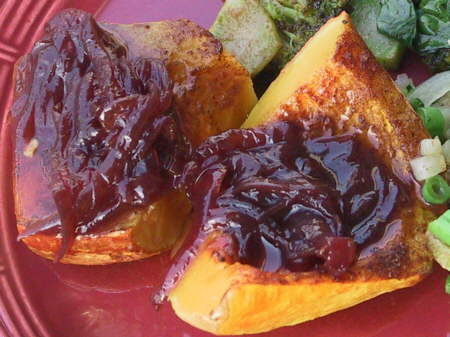red onion marmalade on butternut squash