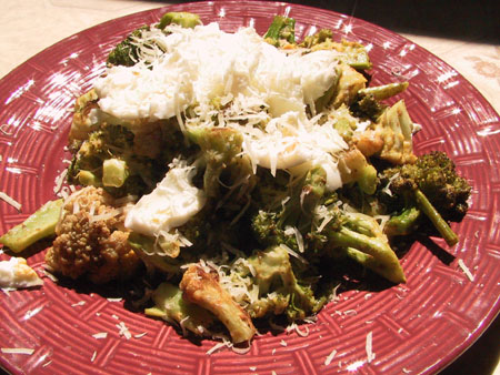 Roasted Broccoli Cauliflower Salad with HB Egg Vinaigrette